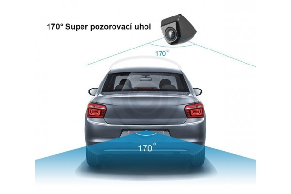 Univerzálna kovová parkovacia kamera do auta v striebornej, bielej a čiernej farbe. Možnosť rozšíriť o automatické LED svietenie a dynamické trajektórie pri cúvaní.