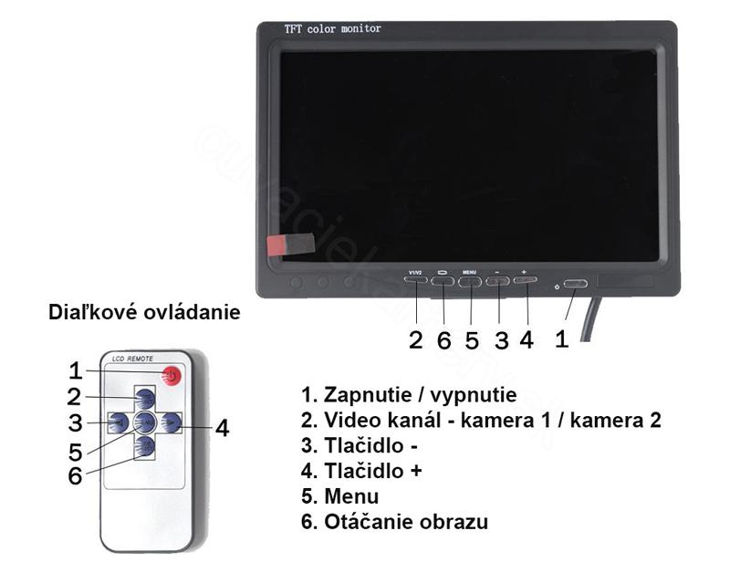 stojanový monitor 7 palcov ovládanie