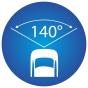 ikona znázorňujúca 140 stupňový pozorovací uhol kamery