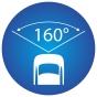 ikona znázorňujúca 160 stupňový pozorovací uhol kamery